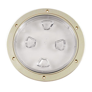 "Beckson 8"" Clear Center Screw-Out Deck Plate - Beige [DP80-N-C]"