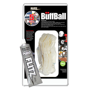 "Flitz Buff Ball - Large 5"" - White w/1.76oz Tube Flitz Polish [PB 101-50]"