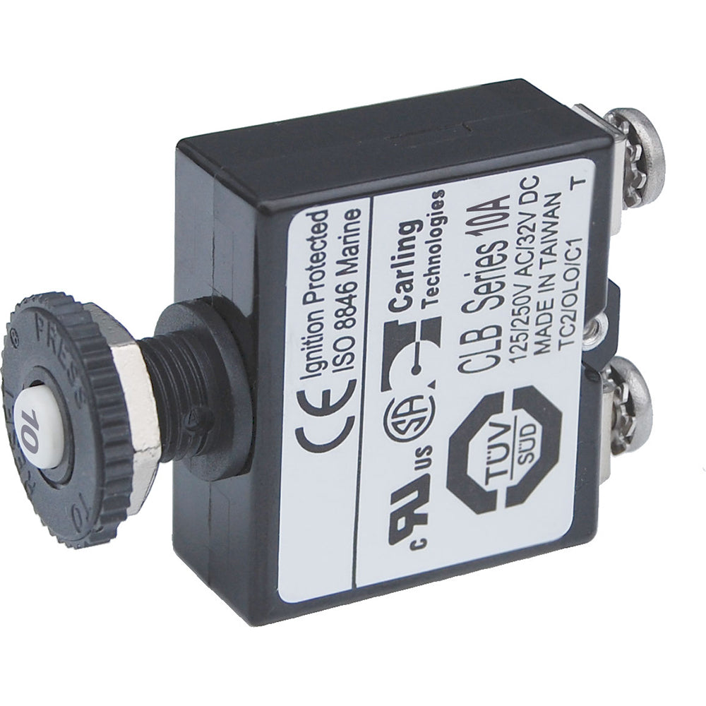 Blue Sea Push Button Reset Only Screw Terminal Circuit Breaker - 10 Amps [2132]
