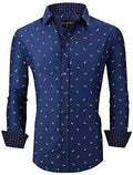 House of Lords Men's Button Down Shirts Long Sleeve Printed Slim Fit Casual Dress Shirt Dark Blue 417 XL - Alliage
