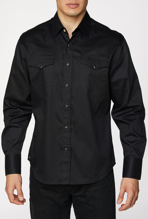 Mens Shirt Plain Long Sleeve with Snap Buttons Cotton Western Shirt