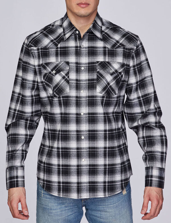 Mens Shirt Long Sleeves Plaid Flannel Shirt