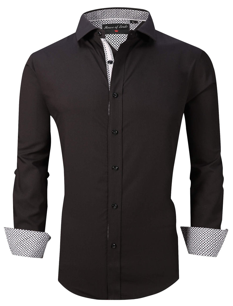 Mens Shirt Printed Long Sleeve Button Down Cotton Bamboo