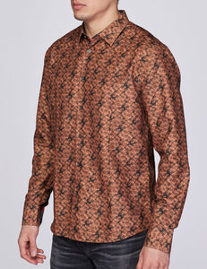 Men's Printed Long-Sleeves Button-Down Dress Shirt
