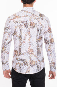Men's Designer Printed Long Sleeves Slim Fit Dress Shirt