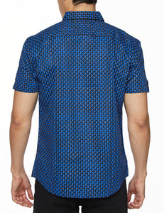 Men's Printed Short-Sleeves Button-Down Shirt