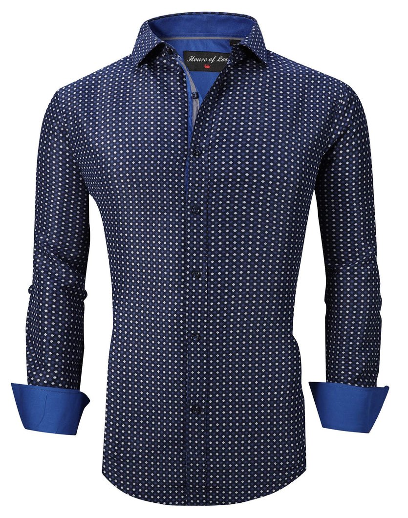 Mens Shirt Printed Cuffs Long Sleeve Button Down Easy Care Work Shirt