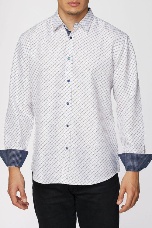 Mens Shirt Long Sleeve Button Down Printed Cuffs Dress Shirt