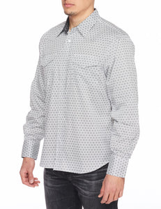 Men's Printed Long-Sleeves Dress Shirt with Snap Buttons