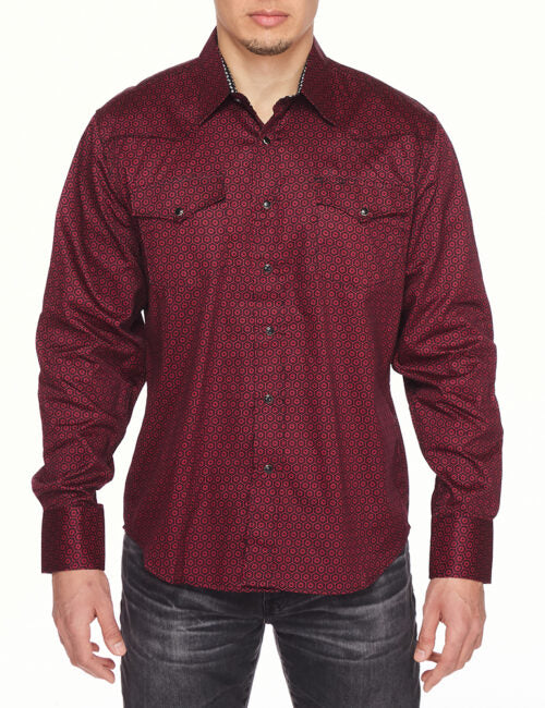 Mens Shirt Long Sleeve Printed Cuffs Dress Shirt with Snap Buttons