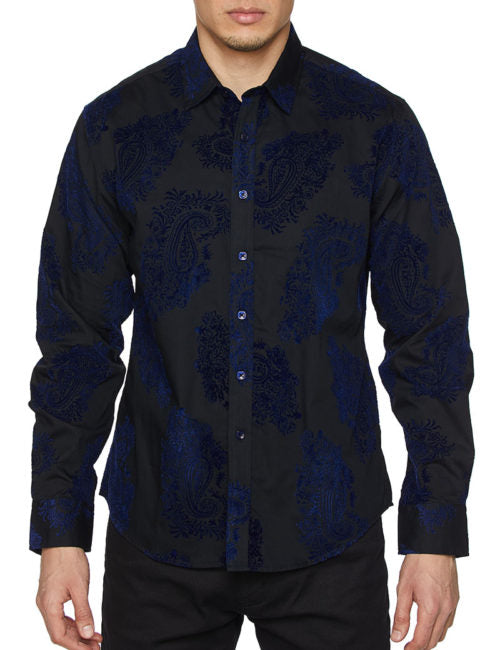 Mens Shirt Designer Printed Long Sleeve Button Down Dress Shirt