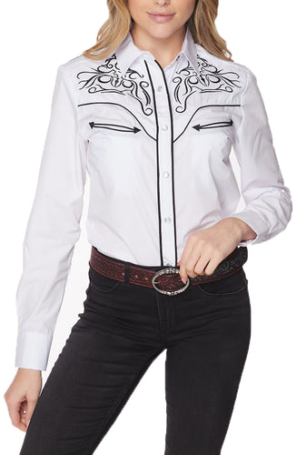 Women's Western Embroidered Long Sleeves Dress Shirt