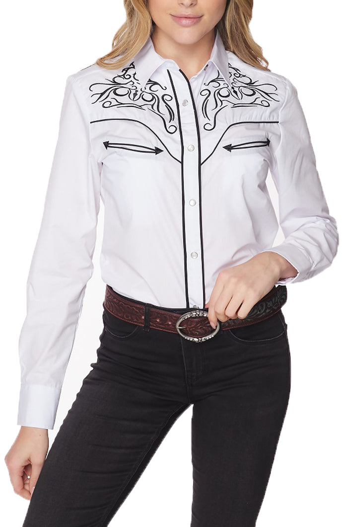 Womens Shirt Western Embroidery Long Sleeve Button Down Shirt