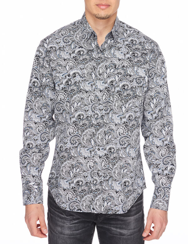 Mens Shirt Western Cowboy Long Sleeve Paisley Button Down Printed Cuffs Shirt
