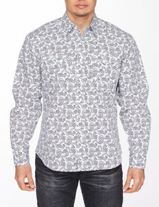 Men's Western Long-Sleeves Paisley Button-Down Shirt
