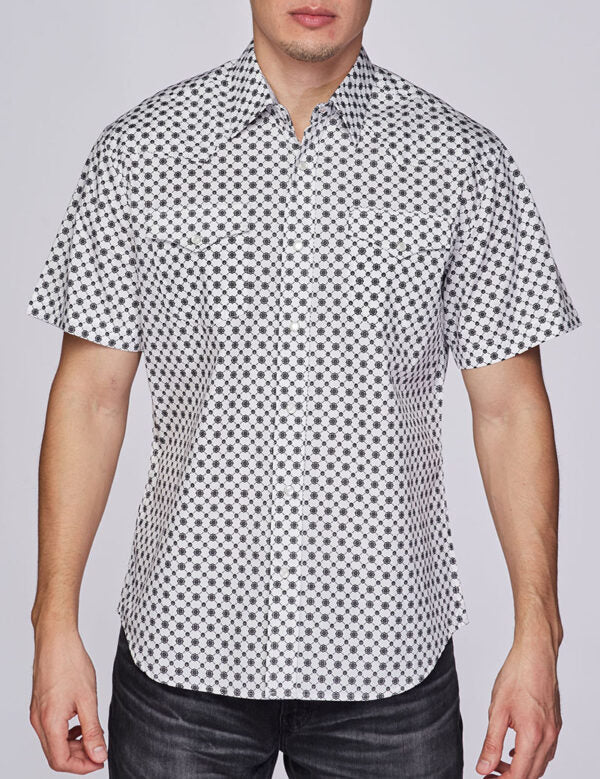 Mens Shirt Western Short Sleeve Printed Button Down Shirt Easy Care Cotton
