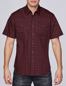 Men's Western Short-Sleeves Button-Down Shirt