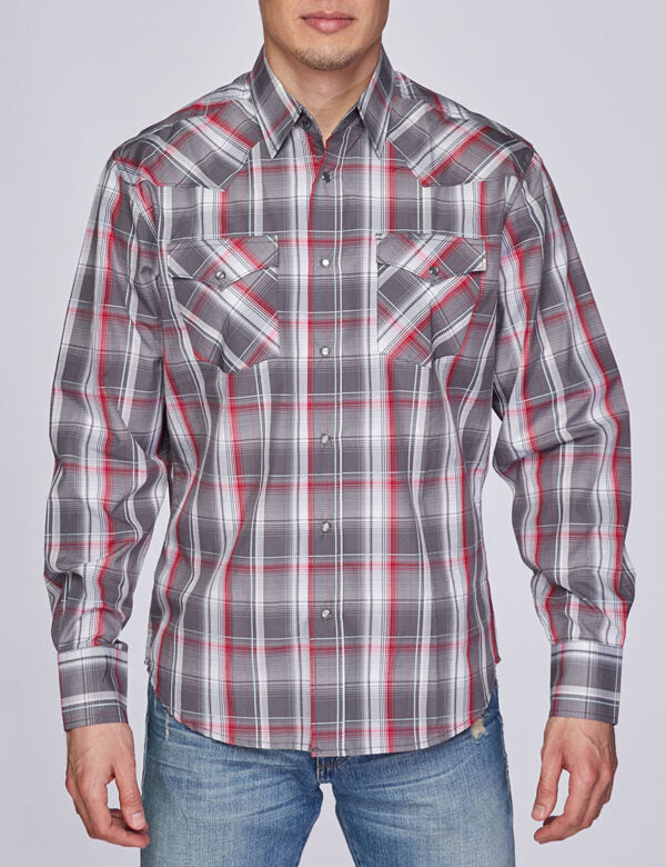 Mens Shirt Plaid Long-Sleeves Button-Down