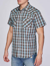 Load image into Gallery viewer, Mens Shirt Plaid Short Sleeve Button Down Rodeo Cowboy Shirt