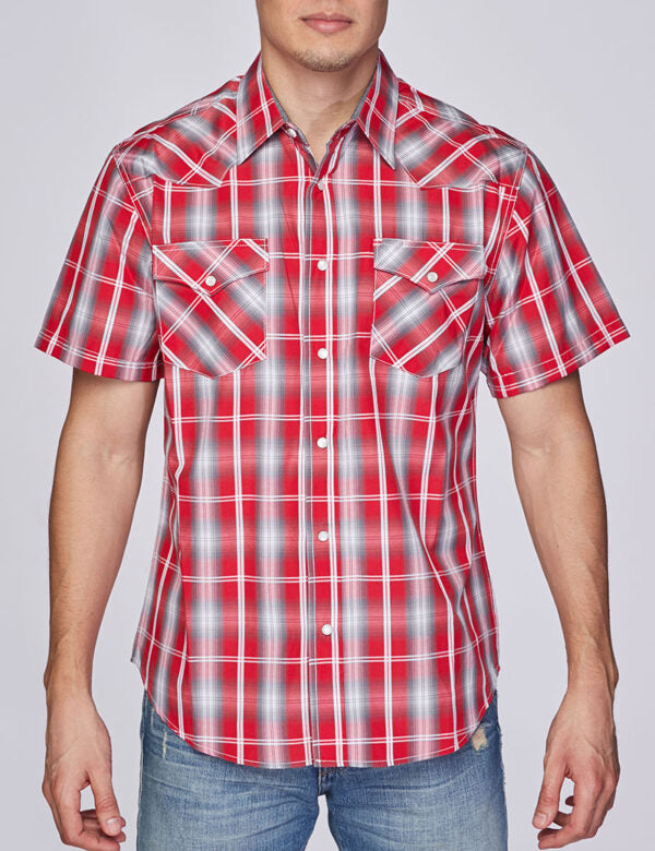 Mens Shirt Plaid Short Sleeve Button Down Rodeo Cowboy Shirt