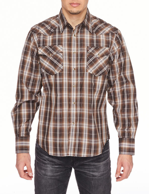 Mens Shirt Plaid Long Sleeve with Snap Buttons Cowboy Shirt