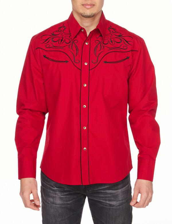 Mens Shirt Western Embroidery Cowboy Shirt with Long Sleeve Snap Buttons