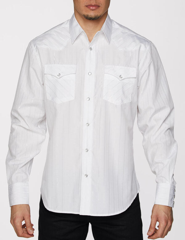 Mens Shirt Long Sleeve with Snap Buttons Dress Designer Shirt