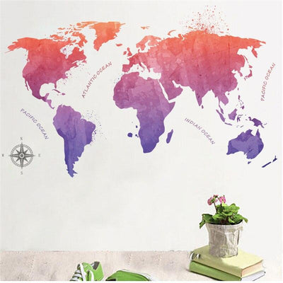 Carte Du Monde Stickers Rond Couleur Pastel