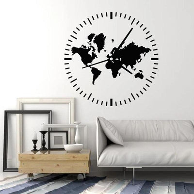Stickers Carte Du Monde Design Horloge