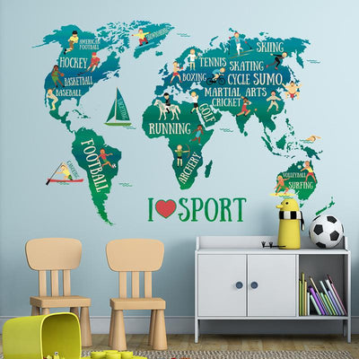 Stickers Carte Du Monde Sport