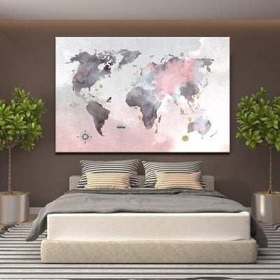 Toile Carte Du Monde Art Abstrait