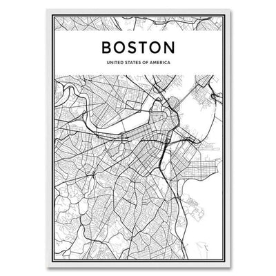 Toile Carte Du Monde Boston