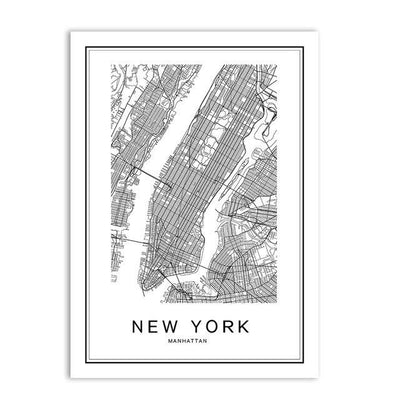 Toile Carte Du Monde New York