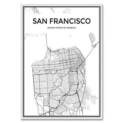 Toile Carte Du Monde San Francisco