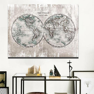 Toile Mappemonde Grise