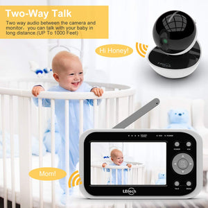 Video Baby Monitor with 2 Digital Cameras, Wireless Video Monitor,4.3 inches LCD,Automatic Night Vision,Two-WayTalkback,Temperature Detection,Power Saving,Zoom in Lens,Support Multi-Camera