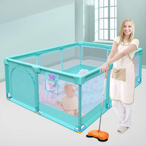 Portable Folding Baby Playpen Playard Rectangle Toddlers Play Yard with Door Activity Center Child Play Game Fence (Green)