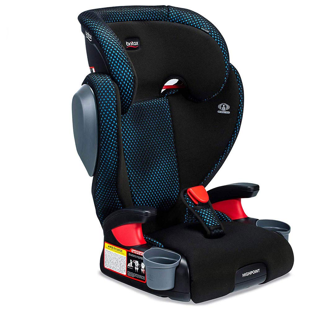 USA Highpoint 2-Stage Belt-Positioning Booster Cool Flow Ventilating Fabric Car Seat - Highback and Backless - 3 Layer Impact Protection - 40 to 120 Pounds, Gray