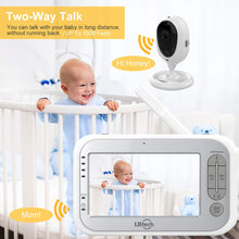 "Load image into Gallery viewer, Video Baby Monitor with Two Cameras and 4.3"" LCD,Auto Night Vision,Two-Way Talkback,Temperature Detection,Power Saving/Vox,Zoom in,Support Multi Camera"
