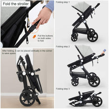 Load image into Gallery viewer, Baby Stroller Newborn Carriage Infant Reversible Bassinet to Luxury Toddler Vista Seat for Boy Girl Compact Single All Terrain Babies Pram Strollers Add Stroller Cover, Cup Holder, Net…