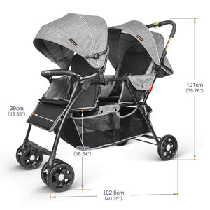 Double Stroller Toddler Infant Stroller 0-36 Months Baby Pram Load up to 66 Lbs for 2 Baby Comfort Trip - Gray