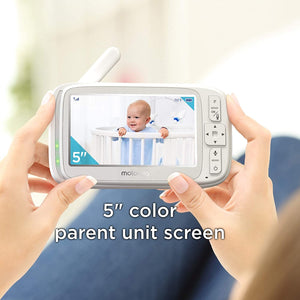 Comfort75 Video Baby Monitor - Infant Wireless Camera with Remote Pan, Digital Zoom, Temperature Sensor - 5 Inch LCD Color Screen Display with Two-Way Intercom, Night Vision - 1000ft Range