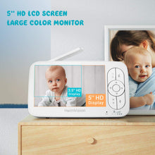 "Load image into Gallery viewer, HM136 Video Baby Monitor, 5"" LCD Display, 720P HD, Two-Way Audio, Temperature & Sound Alarm, Security Camera with 110° Wide Angle, Night Vision, Up to 1000ft of Range"