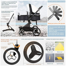 Load image into Gallery viewer, Bassinet Baby Stroller Reversible All Terrain - Vista City Select Strollers for Infant Toddler Pram Pushchair add Net Cover (Flash White)