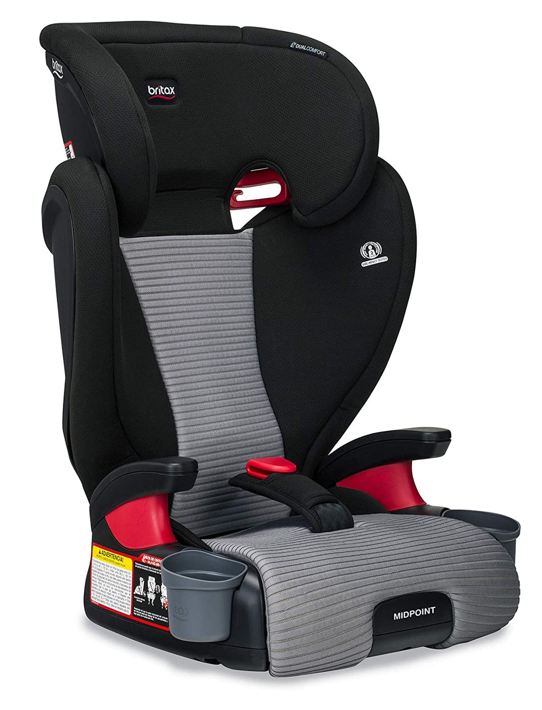 Midpoint Belt-Positioning Booster Seat - 2 Layer Impact Protection - 40 to 120 Pounds - DualComfort Moisture Wicking Fabric, Gray
