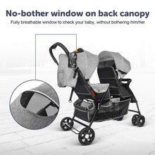 Load image into Gallery viewer, Double Stroller Toddler Infant Stroller 0-36 Months Baby Pram Load up to 66 Lbs for 2 Baby Comfort Trip - Gray