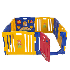 8-Panel Indoor Outdoor Home Baby Playpen Kids Safety Play Center - Blue/Yellow/Red