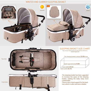 Baby Stroller Bassinet Pram Carriage Stroller -  All Terrain Vista City Select Pushchair Stroller Compact Convertible Luxury Strollers add Foot Cover (Light Brown)