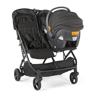 3Dpac CS+ Double Stroller, Black – Car Seat Compatible Baby Stroller – Lightweight Stroller with Convenient One-Hand Fold, Reclining Seats, Two Extra-Large Canopies & Parent Friendly Features