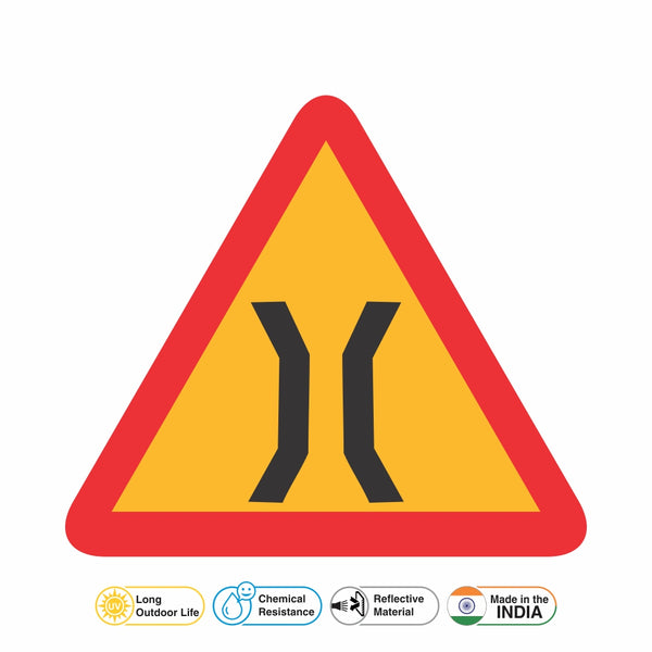 Reflective Narrow Bridge Ahead Traffic Cautionary Warning Sign Board